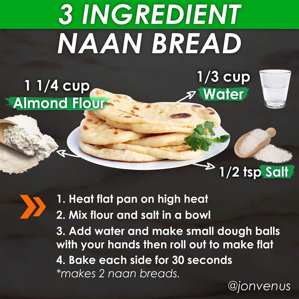 three ingredient naan bread, 1.25 almond flour, 0.33 cup water, 0.5 tsp salt