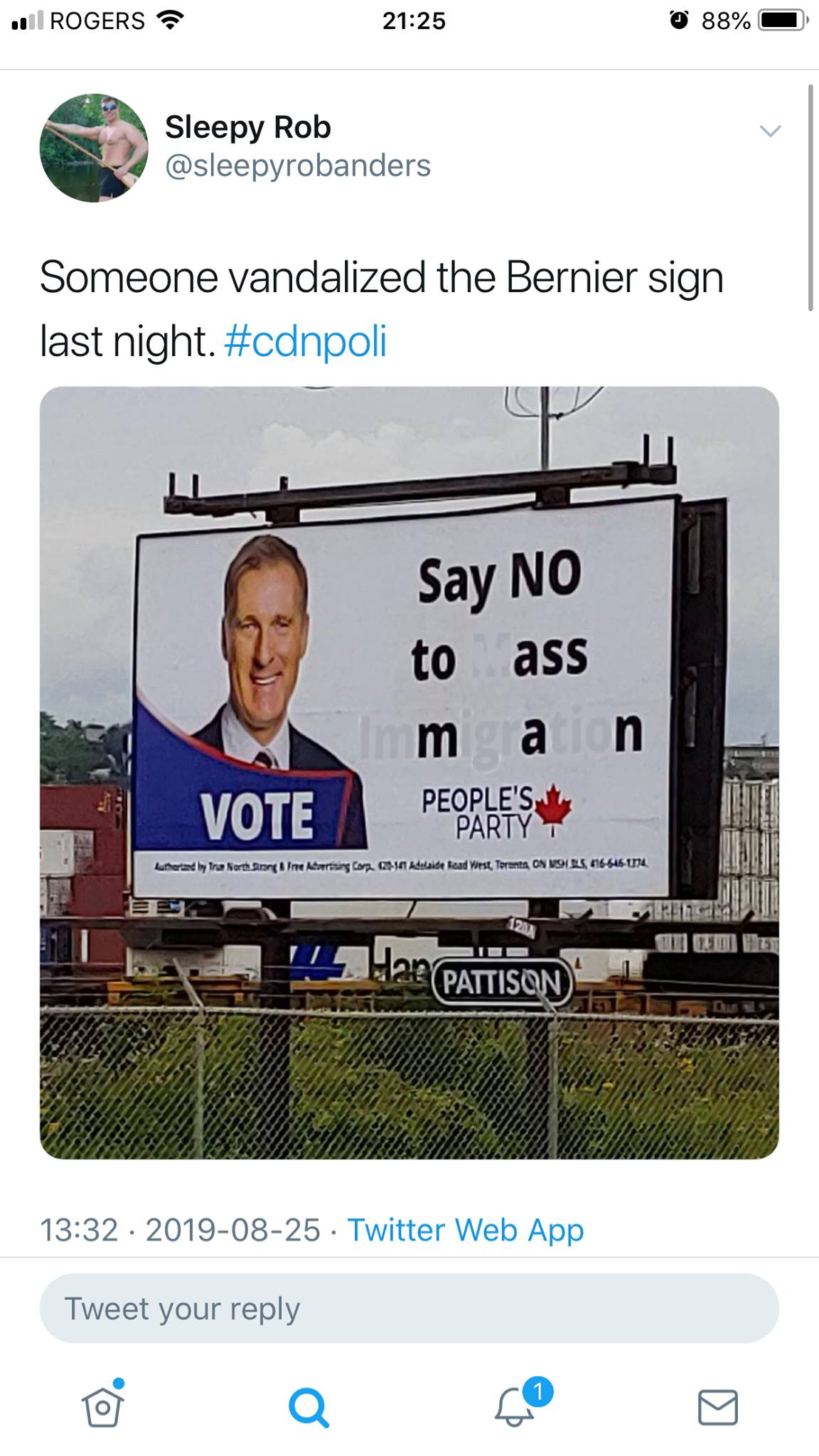 say no to ass man, someone vandalized the bernier sign last night