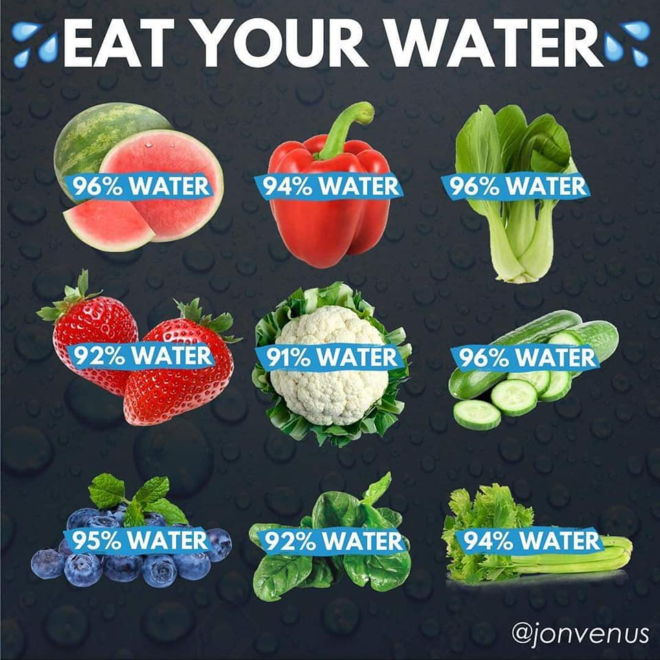 eat your water, food, nutrition, water melon, red pepper, strawberries, cauliflower, cucumber, blueberries, celery