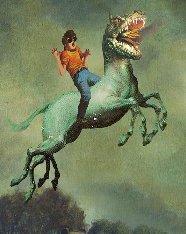 when art does not imitate life, cool boy riding dinosaur horse