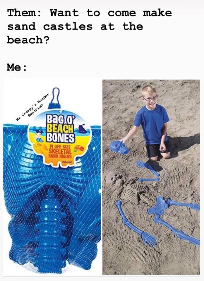 bag o beach bones, want to come make sand castles at the beach?