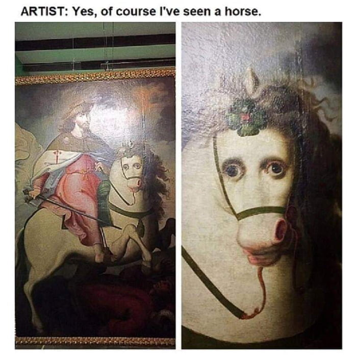 artist, yes of course i've seen a horse
