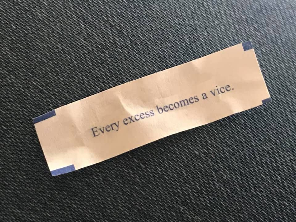 every excess becomes a vice, fortune cookie, good advice