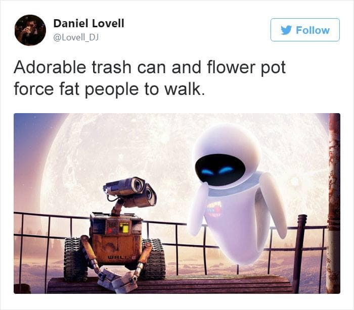 adorable trash can and flower pot force fat people to walk