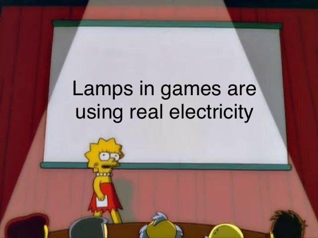lamps in games are using real electricity