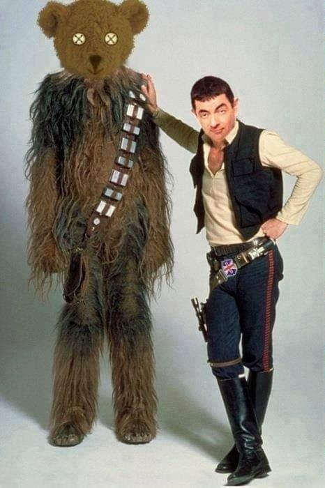 mr bean and his teddy bear, han solo and chewbaca mashup