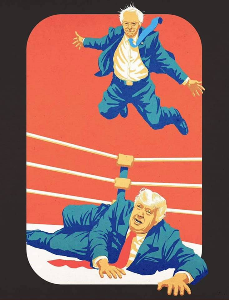 bernie sanders about to body slam donald trump from the ropes, wrestling, bernie 2020