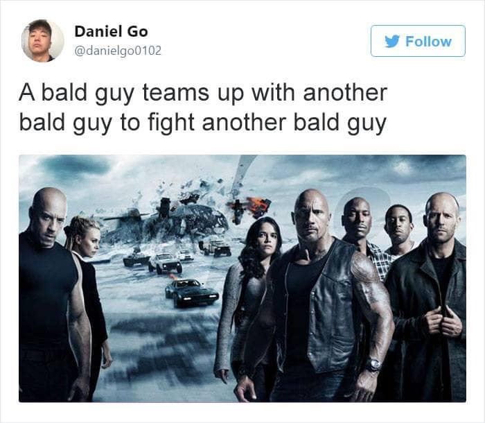 a bald guy teams up with another bald guy to fight another bald guy
