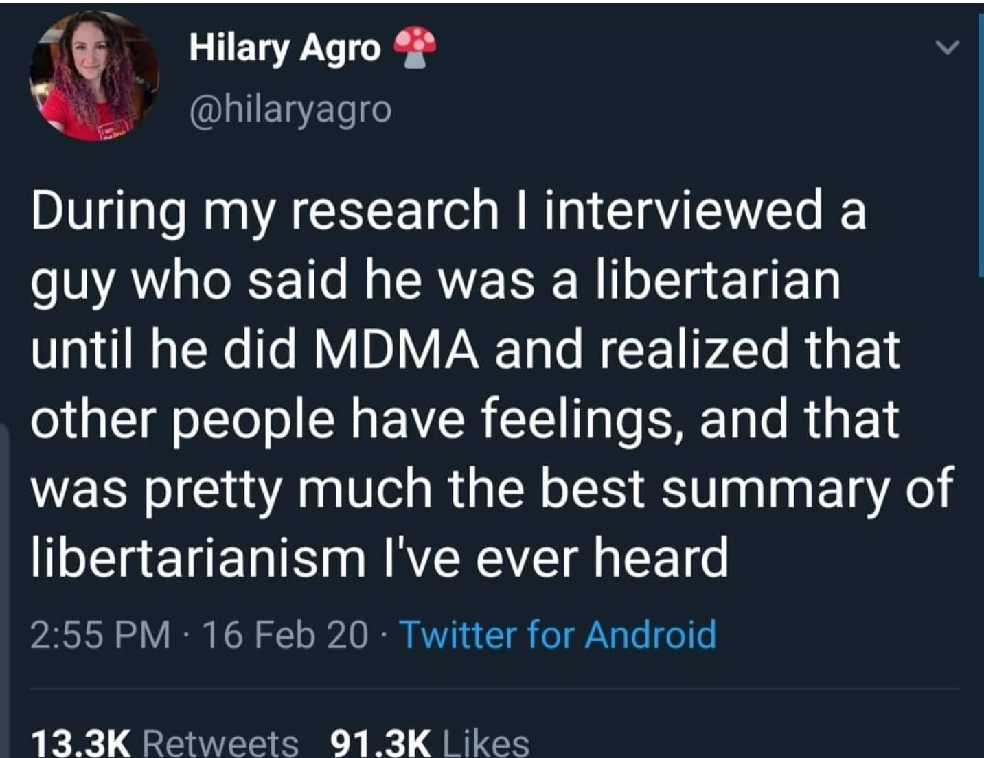 during my research i interviewed a guy who said he was a libertarian until he did mdma and realized that other people have feelings, and that was pretty much the best summary of libertarianism i've ever heard