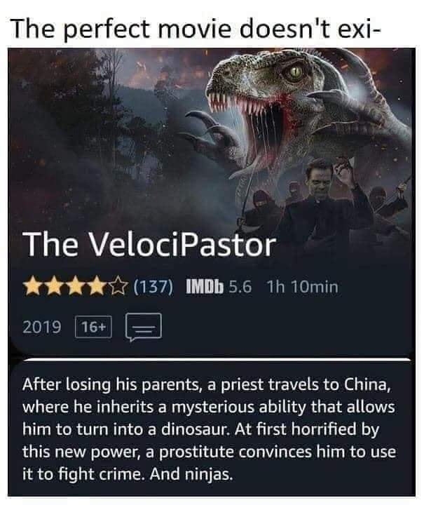 the velocippastor, after losing his parents, a priest travels to china where he inherits a mysterious ability that allows him to turn into a dinosaur, at first horrified by this new power, fight crime, and ninjas