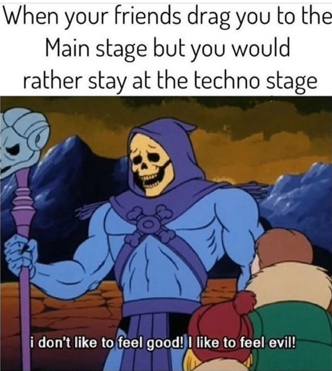 when your friends drag you to the main stage but you would rather stay at the techno stage, i don't like to feel good, i like to feel evil