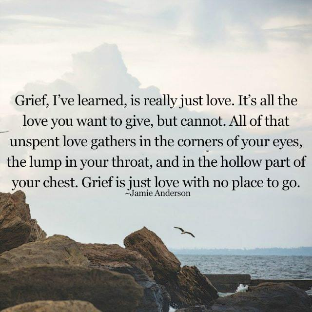 grief is really just love, it's all the love you want to give but cannot, all of that unspent love gathers in the corners of your eyes, the lump in your throat, grief is just love with no place to go