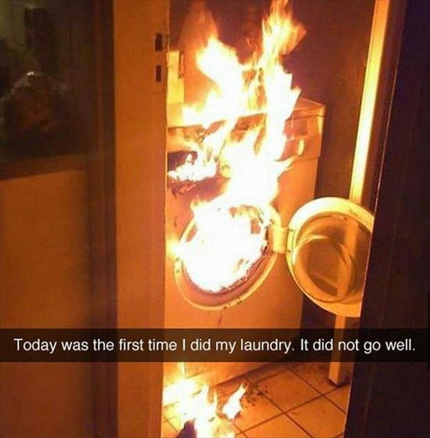 today was the first time i did my laundry, it did not go well