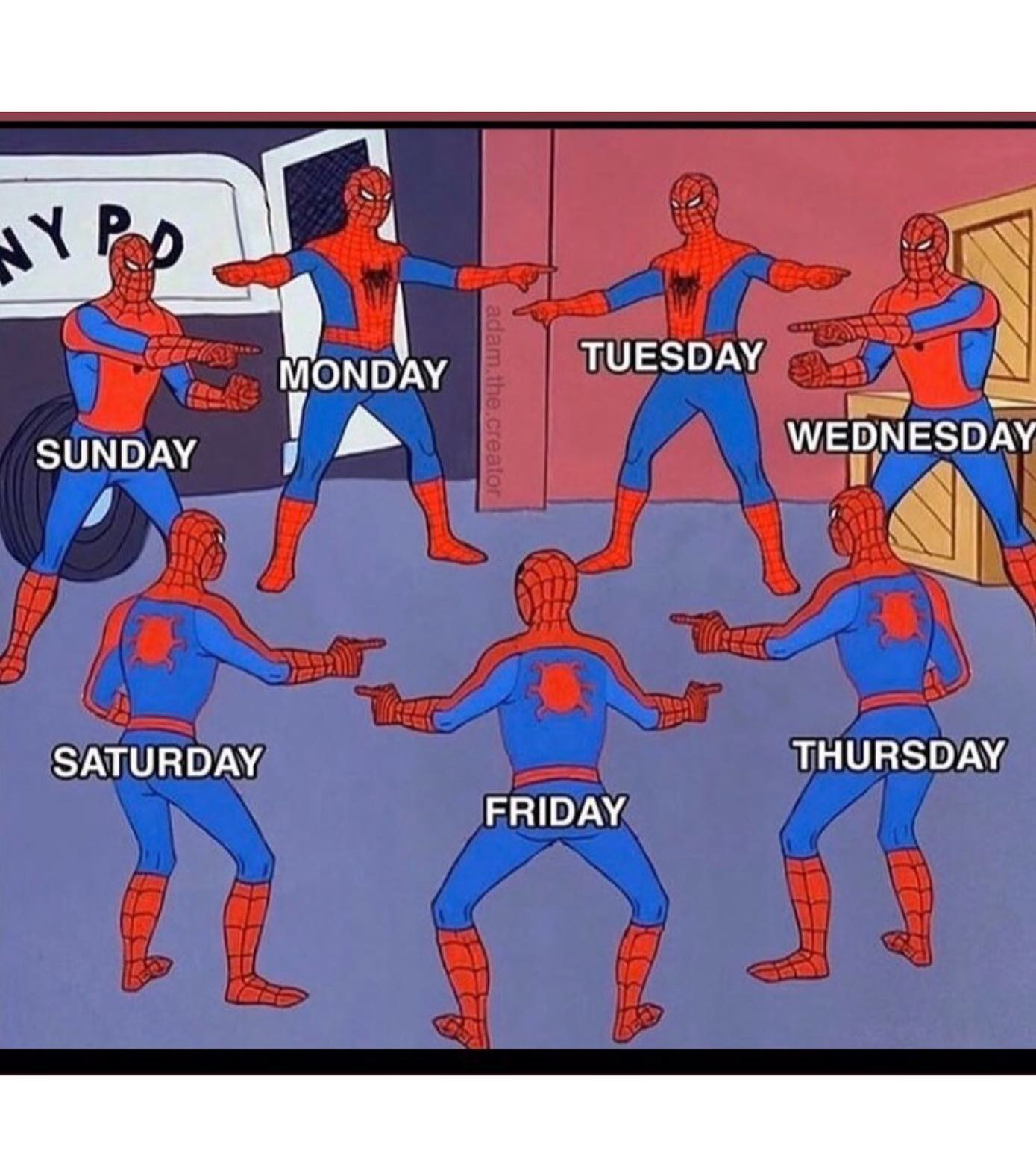 monday, tuesday, wednesday, thursday, friday, saturday, sunday, all spidermans