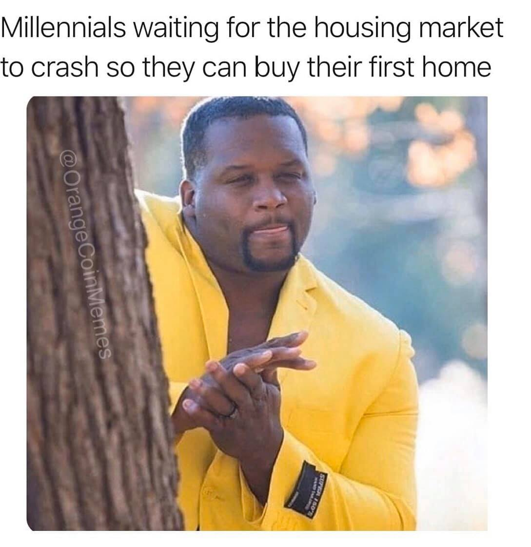 millennials waiting for the housing market to crash so they can buy their first home, meme