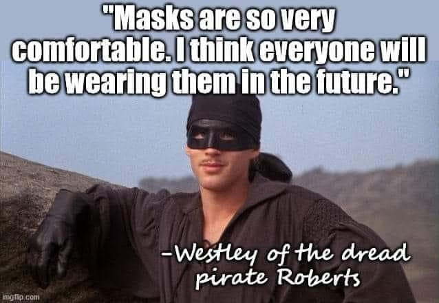 masks are so very comfortable, i think everyone will be wearing them in the future, westley of the dread pirate roberts, meme