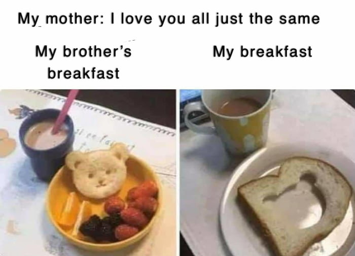 i love you all just the same, my brother's breakfast, my breakfast, left over pieces
