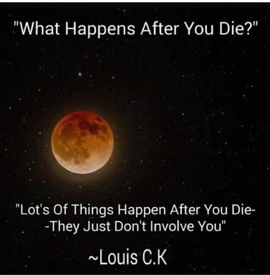 what happens after you die?, lots of things happen after you die, they just don't involve you