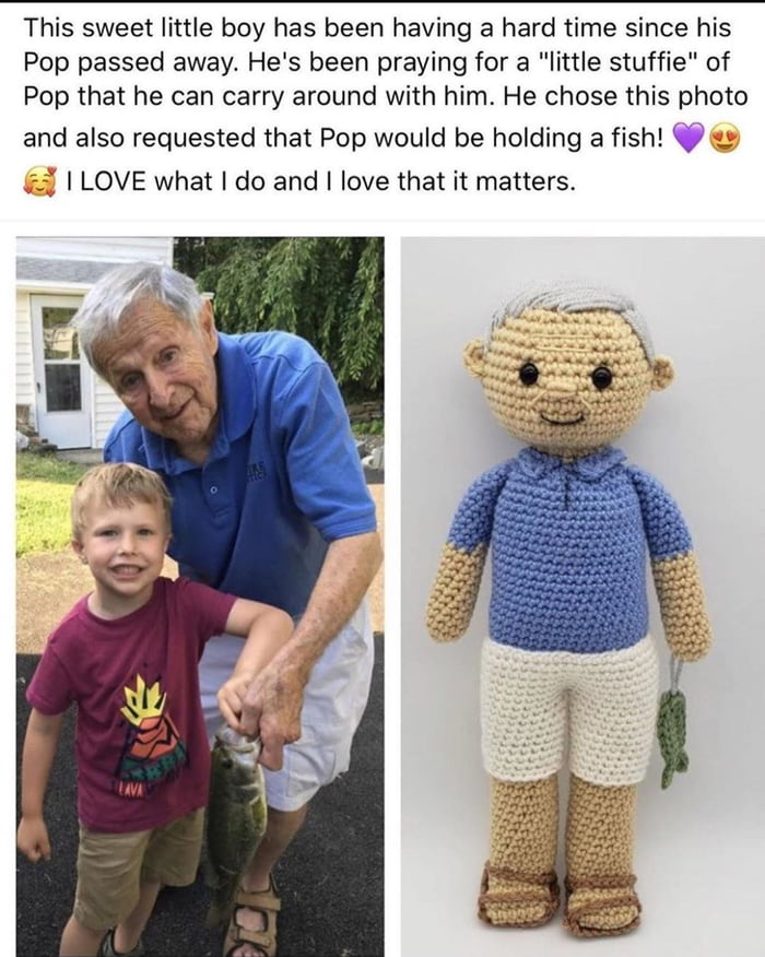 custom knit love, this sweet little boy has been having a hard time since his pop passed away, he's been prating for a little stuffy of pop that he can carry around with him, i love what i do and i love that it matters, fish