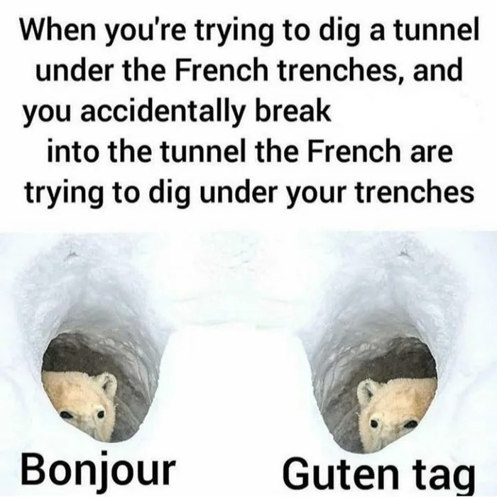when you're trying to dig a tunnel under french trenches, and you accidentally break into the tunnel the french are trying to dig under your trenches