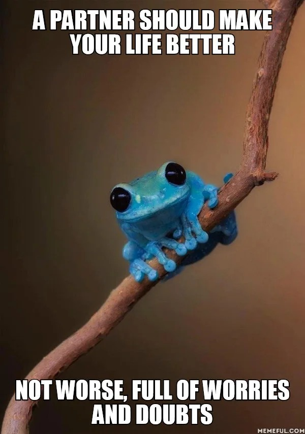 a partner should make your life better, not worse, full of worries, and doubt, small fact frog