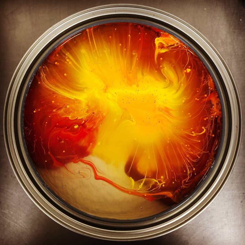 a can of unstirred paint