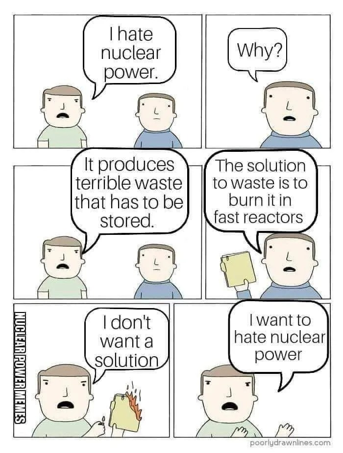 i hate nuclear power, why, it produces terrible waste that has to be stored, the solution to waste is to burn it in fast reactors, i don't want a solution, i want to hate nuclear power, comic