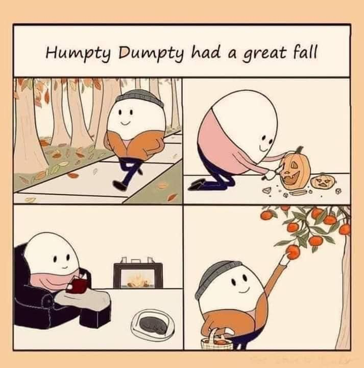 humpty dumpty had a great fall, comic