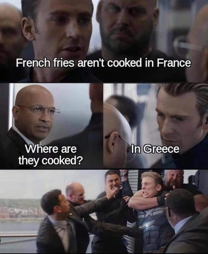 french fries aren't cooked in france, where are they cooked, in greece