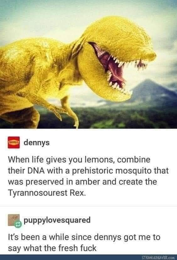 when life gives you lemons, combine their dna with a prehistoric mosquito that was preserved in amber and create the tyrannosourest rex, it's been a while since dennys got me to say what the fresh fuck