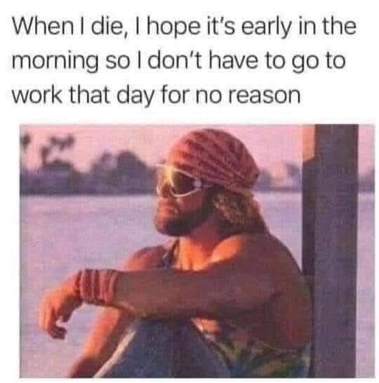 when i die, i hope it's early in the morning so i don't have to go into work that day for no reason, meme