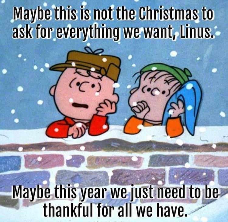 maybe this is not the christmas to ask for everything we want, linus, maybe this year we just need to be thankful for all we have