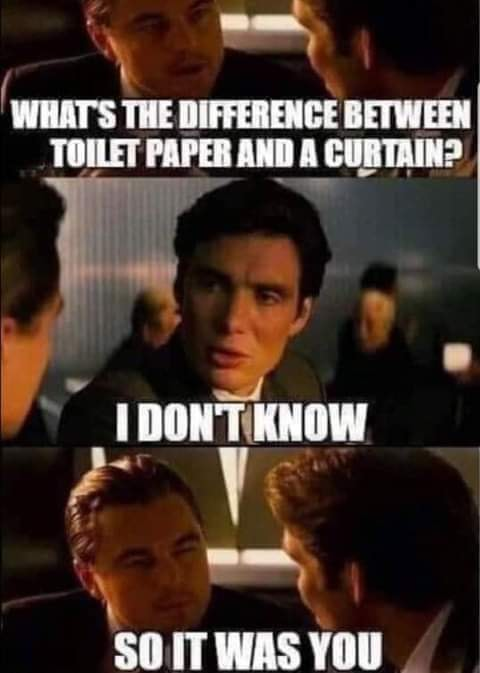 what's the difference between toilet paper and a curtain?, i don't know, so it was you!, meme