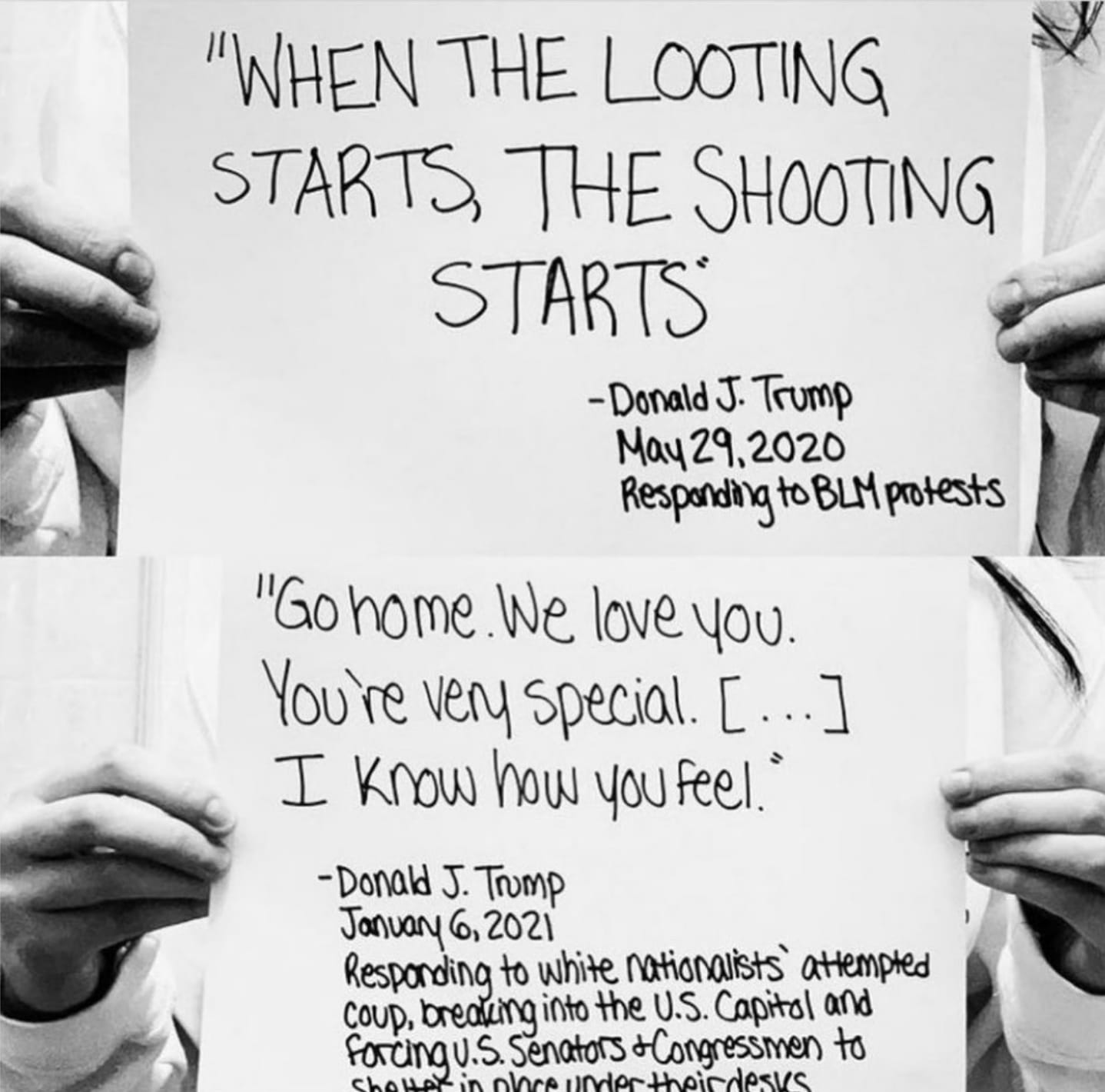 when the looting starts, the shooting starts, go home we love you, you're very special, i know how you feel, donald j trump responding to blm protests and white nationalists' attempted coup
