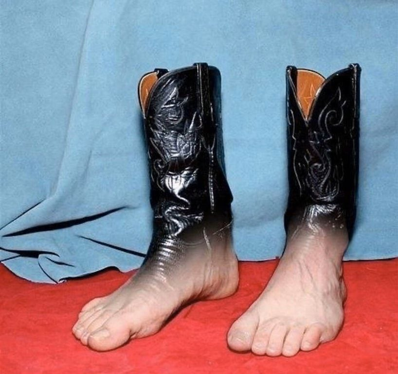 worst boots ever, cowboy foot boots, wtf