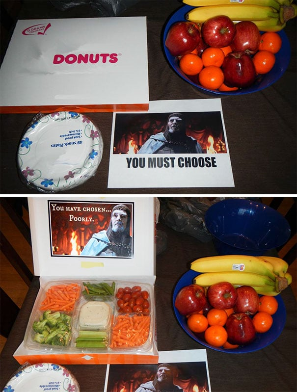 you must choose, you have chosen poorly, troll at work, fake box of donuts