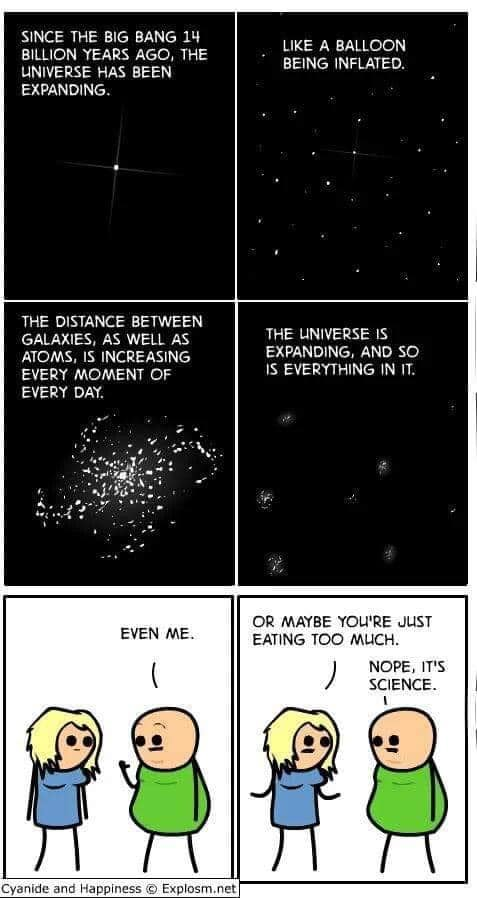since the big bang 14 billion years ago, the universe has been expanding, like a balloon being inflated, the distance between galaxies, as well as atoms is increasing every moment of every day, maybe you're just eating too much