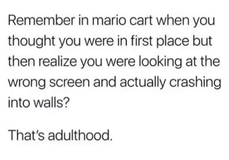 remember in mariokart when you thought you were in first place but then realize you were looking at the wrong screen and actually crashing into walls?, that's adulthood