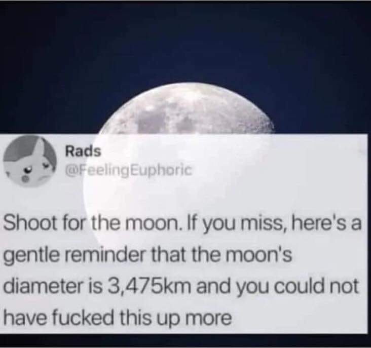 shoot for the moon, if you miss, here's a gentle reminder that the moon's diameter is 3475km and you could not have fucked this up more